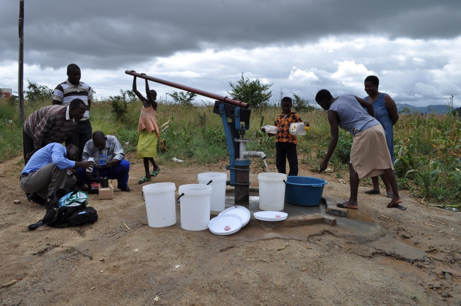 Villagers pump and purify water using simple new technology.