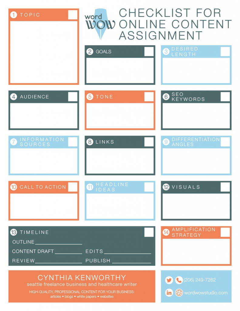 Content assignment checklist